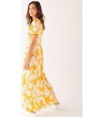 maxi vestido estampado botánico