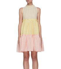 'erica' colourblock ruffle tier halter dress