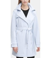 dkny asymmetrical softshell belted rain coat