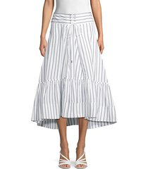 striped midi flare skirt