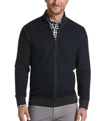 joseph abboud repreve® navy modern fit full-zip sweater