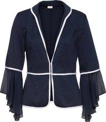 cardigan in jersey con chiffon (blu) - bodyflirt boutique