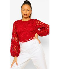crop top met oversized kanten mouwen, berry