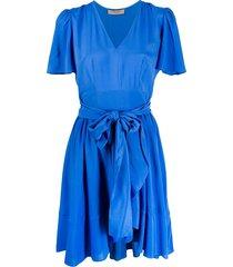 twin-set flared tie-waist dress - blue