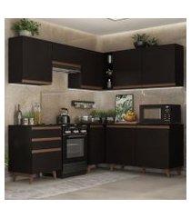 cozinha completa de canto madesa reims 392001 com armário e balcão preto preto