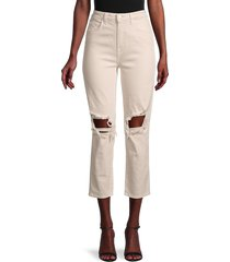 l'agence women's audrina ripped cropped straight jeans - quartz - size 25 (2)