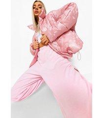 reflecterende gewatteerde camo jas met hoge kraag, pink