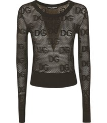 dolce & gabbana all-over logo lace sweater