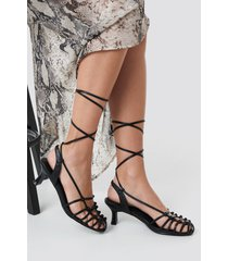 na-kd shoes strappy front sandals - black