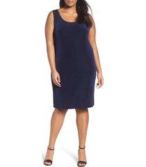 plus size women's vikki vi sleeveless shift dress, size 3x - blue