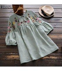 zanzea mujeres puff manga casual camisas bordadas étnicas con cuello redondo de tapas de la blusa plus -verde claro