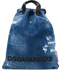 dsquared2 distressed denim backpack - blue