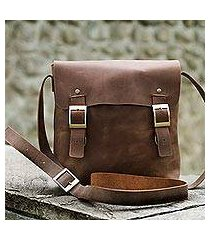 men's leather messenger bag, 'explorer' (peru)