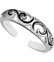 sterling silver filigree adjustable toe ring