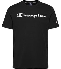 crewneck t-shirt t-shirts short-sleeved svart champion