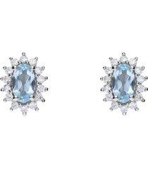 orecchini a lobo in oro bianco con topazio azzurro chiaro e zirconi intrecciati per donna