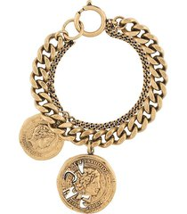 acne studios vintage coin chunky chain bracelet - gold