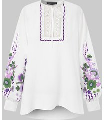 camicetta casual da donna a maniche lunghe patchwork con stampa calico