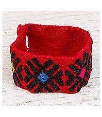 cotton wristband bracelet, 'ebony lines' (mexico)