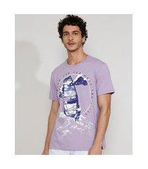 camiseta masculina manga curta gola careca veleiro lilás