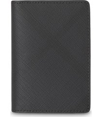 burberry london check and leather bifold card case - grey