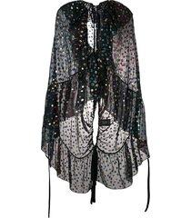 saint laurent embellished semi-sheer cape - black