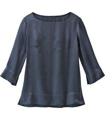blouseshirt van zuivere bio-zijde, nachtblauw 40