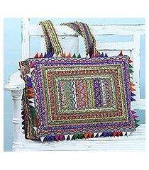 cotton shoulder bag, 'classic colors' (india)