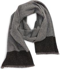 andrew stewart herringbone border stripe cashmere scarf in black at nordstrom