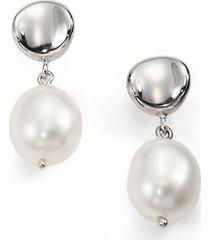 10mm freshwater white pearl & sterling silver drop earrings