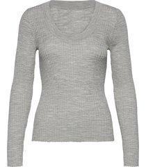 slfcosta new ls knit deep u-neck stickad tröja grå selected femme