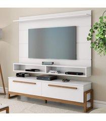 painel e rack para tv baron branco amãªndoa casah - branco - dafiti