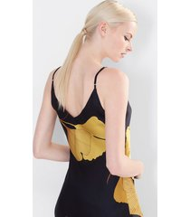 ginkgo nightgown, women's, black, 100% silk, size s, josie natori