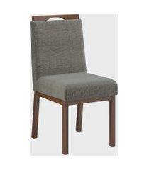 conjunto 02 cadeiras sofia c/ pux. castanho cinza