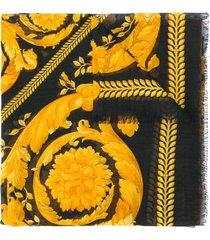 versace barocco printed scarf - black