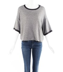 nsf clothing gray cotton short sleeve sweatshirt gray sz: l