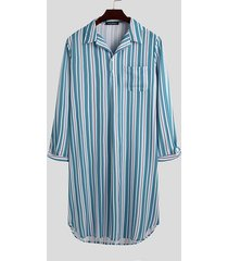 incerun hombres home check albornoz kaftan estampado a rayas para dormir camisa