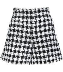 balmain tweed shorts with black and white houndstooth pattern