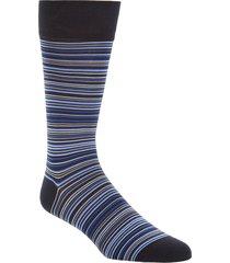 men's cole haan multistripe crew socks, size one size - blue