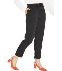 pantalon pierna recta negro liso lorenzo di pontti