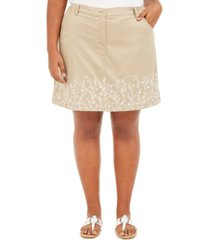 karen scott plus size floral embroidered skort, created for macy's