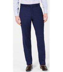 perry ellis men's portfolio slim-fit stretch navy solid suit pants