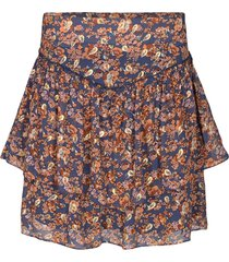 rok met bloemenprint lara  blauw
