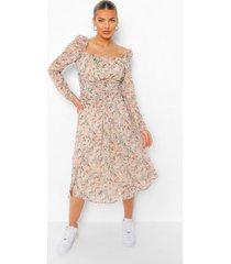 bloemenprint midi jurk met geplooide taille, ivory