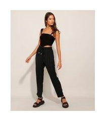 calça reta pijama cintura alta com cordão preta
