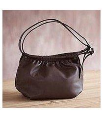 leather hobo handbag, 'divine chestnut' (peru)