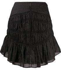 isabel marant tiered-gathereing a-line mini skirt - black