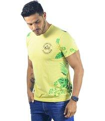 camiseta hombre manga corta slim fit amarillo marfil california