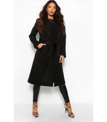 lang geruite boyfriend jas met wollook en dubbele knoopsluiting, zwart