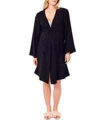 women's ingrid & isabel lounge maternity robe, size large - black
